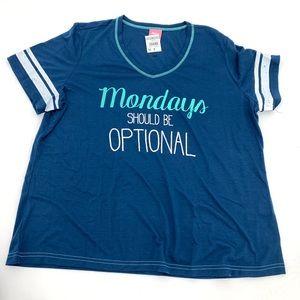 Monday's should be optional Pajama Top 1X NEW